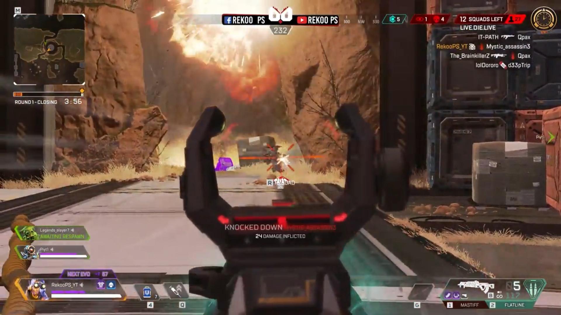 投げたグレネードがジャンプパッドで跳ねて空中のオクタンが爆発する動画