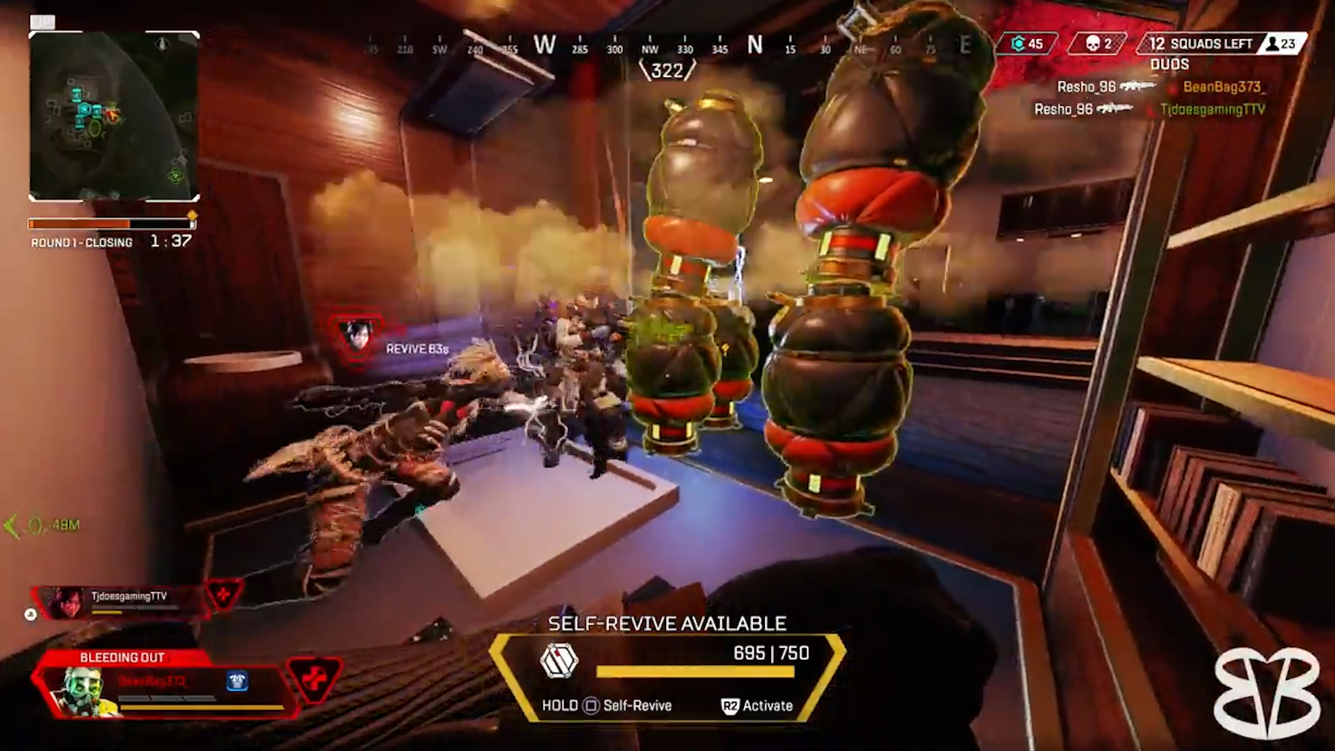 【APEX】自らの命を犠牲にして敵部隊を確実に仕留める「コースティック」と「レイス」の最強コンボがコチラwww