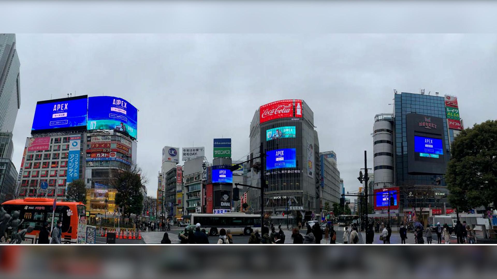 【APEX】渋谷スクランブル交差点に「エーペックスレジェンズ」の広告が出ているとのこと!!