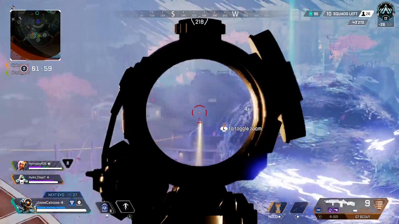 【APEX小ネタ】リフト中央にあるゲートに向けて撃つと弾が曲がる