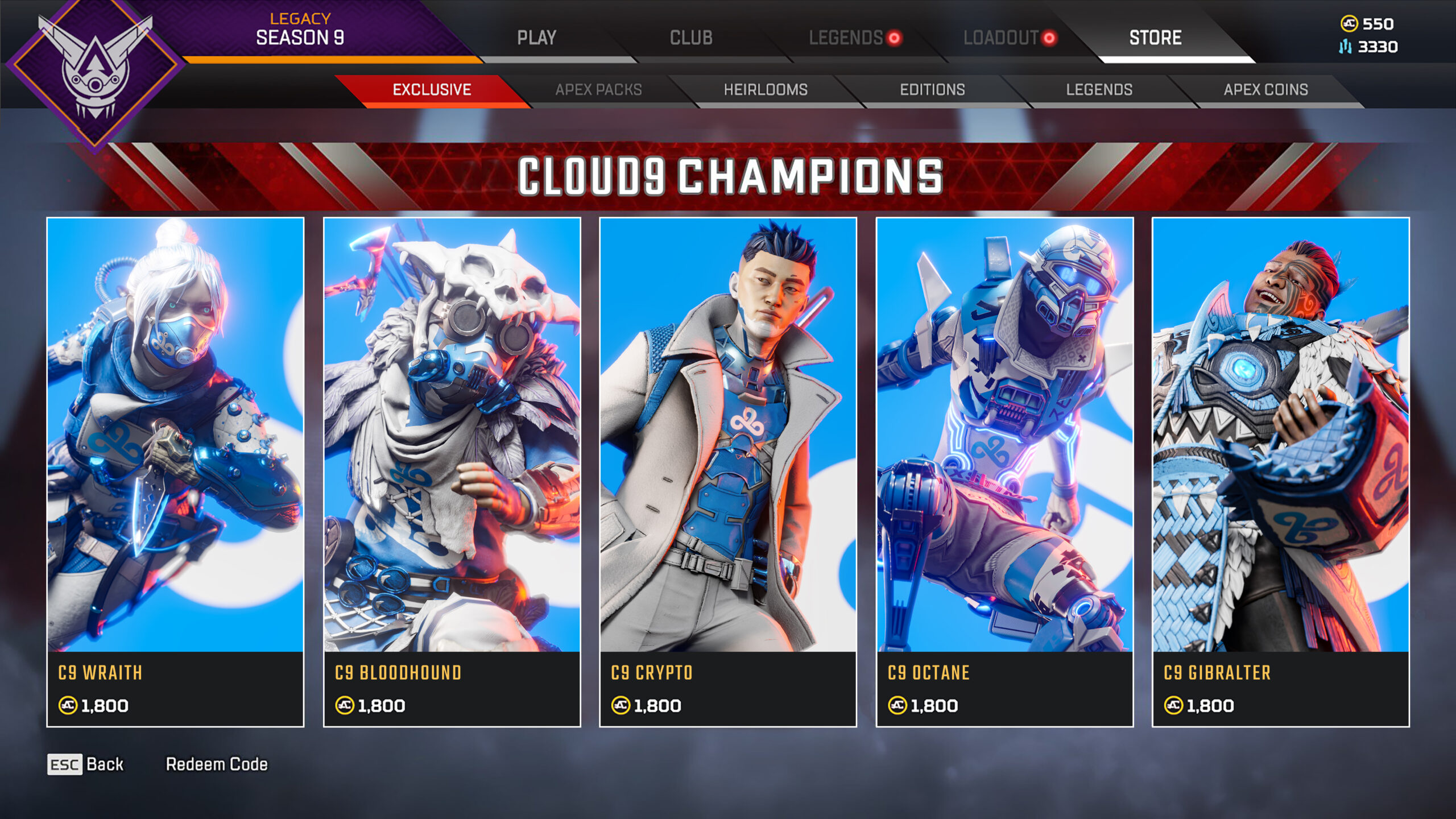 【APEX】アメリカのプロゲーミングチーム「Cloud9」がファンメイドスキンを公開!!→むちゃくちゃカッコいいwww